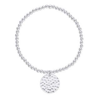 Bracelet perles & médaille martelée en Argent 925