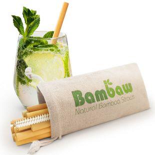 Set de 12 pailles en bambou avec goupillon