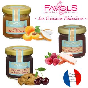 Lot de 3 pots de confiture Abricot Calisson, Framboise Biscuit rose, Cerise Noire